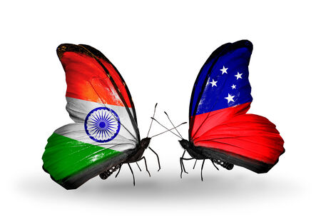 Two butterflies with flags on wings as symbol of relations India and Samoa photo