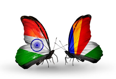 Two butterflies with flags on wings as symbol of relations India and  Seychelles photo