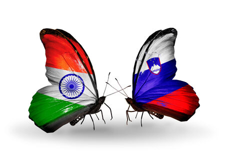 Two butterflies with flags on wings as symbol of relations India and Slovenia photo