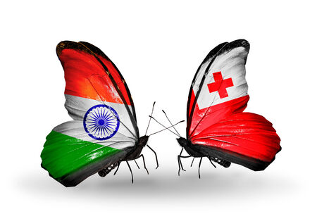 Two butterflies with flags on wings as symbol of relations India and Tonga photo