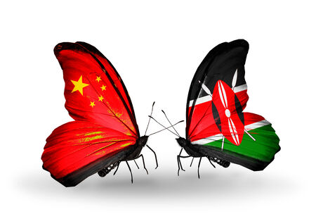Two butterflies with flags on wings as symbol of relations China and Kenya photo
