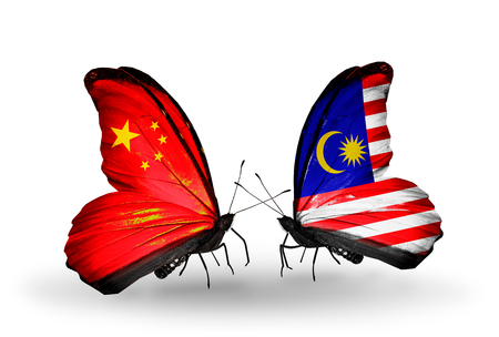 Two butterflies with flags on wings as symbol of relations China and Malaysia photo