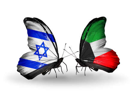 Two butterflies with flags on wings as symbol of relations Israel and Kuwait photo