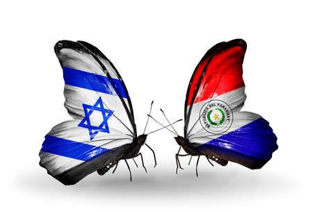 Two butterflies with flags on wings as symbol of relations Israel and Paraguay photo