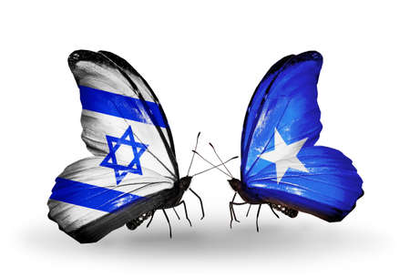 Two butterflies with flags on wings as symbol of relations Israel and  Somalia photo