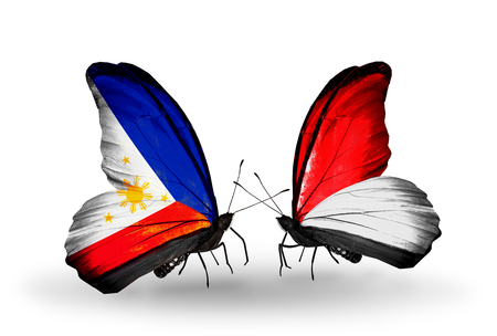 Two butterflies with flags on wings as symbol of relations Philippines and Monaco, Indonesia
