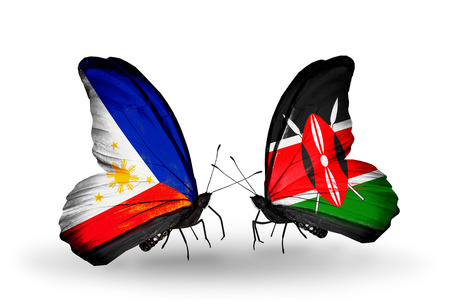 Two butterflies with flags on wings as symbol of relations Philippines and Kenya photo
