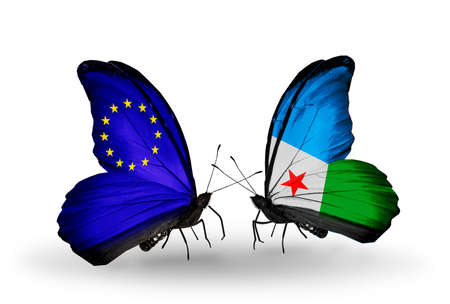 Two butterflies with flags on wings as symbol of relations EU and Djibouti photo