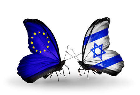 Two butterflies with flags on wings as symbol of relations EU and Israel photo