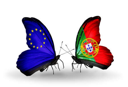 Two butterflies with flags on wings as symbol of relations EU and Portugal photo