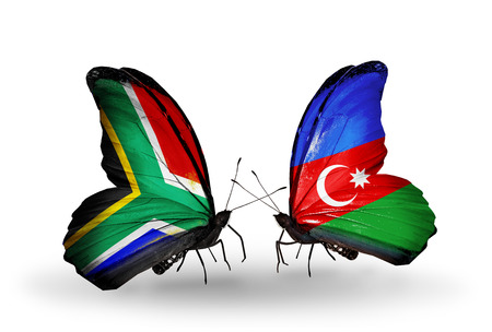 Two butterflies with flags on wings as symbol of relations South Africa and Azerbaijan photo
