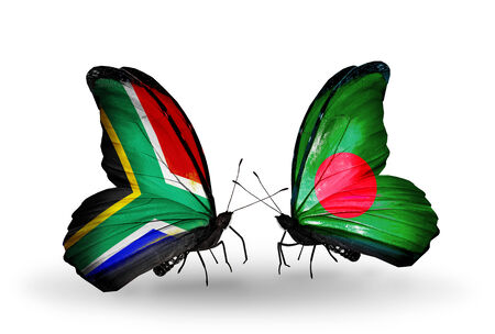 Two butterflies with flags on wings as symbol of relations South Africa and Bangladesh photo
