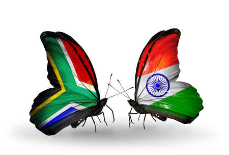 Two butterflies with flags on wings as symbol of relations South Africa and India photo
