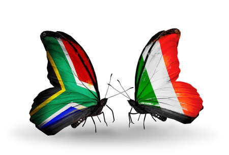 Two butterflies with flags on wings as symbol of relations South Africa and Ireland photo