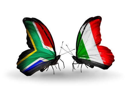 african solidarity: Two butterflies with flags on wings as symbol of relations South Africa and  Italy
