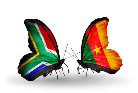 Two butterflies with flags on wings as symbol of relations South Africa and Cameroon photo