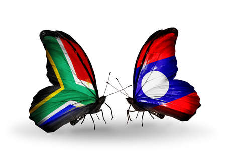 Two butterflies with flags on wings as symbol of relations South Africa and Laos photo