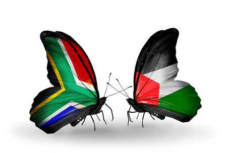 african solidarity: Two butterflies with flags on wings as symbol of relations South Africa and Palestine