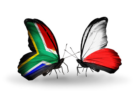 Two butterflies with flags on wings as symbol of relations South Africa and Poland photo