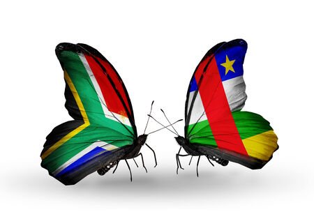 Two butterflies with flags on wings as symbol of relations South Africa and CAR photo