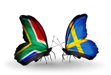 african solidarity: Two butterflies with flags on wings as symbol of relations South Africa and Sweden