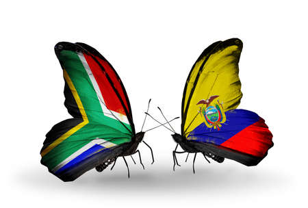 Two butterflies with flags on wings as symbol of relations South Africa and  Ecuador photo