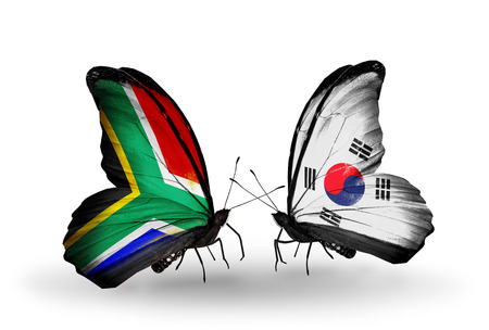 african solidarity: Two butterflies with flags on wings as symbol of relations South Africa and South Korea