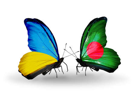 Two butterflies with flags on wings as symbol of relations Ukraine and Bangladesh photo