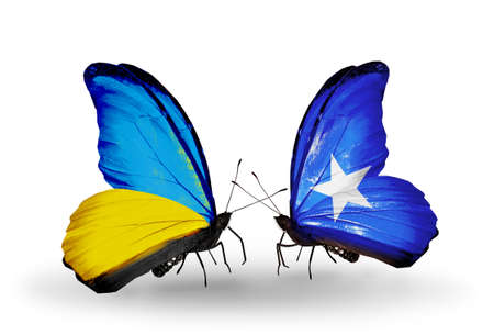 Two butterflies with flags on wings as symbol of relations Ukraine and Somalia photo