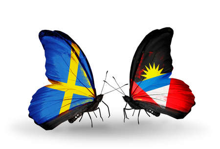 Two butterflies with flags on wings as symbol of relations Sweden and Antigua and Barbuda photo
