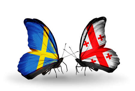 Two butterflies with flags on wings as symbol of relations Sweden and Georgia photo