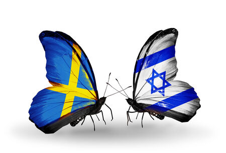 Two butterflies with flags on wings as symbol of relations Sweden and Israel photo
