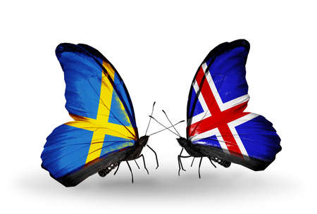 Two butterflies with flags on wings as symbol of relations Sweden and Iceland photo