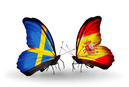 Two butterflies with flags on wings as symbol of relations Sweden and  Spain