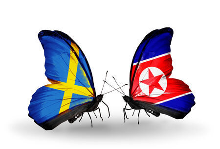 Two butterflies with flags on wings as symbol of relations Sweden and North Korea photo