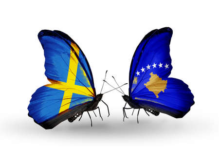 Two butterflies with flags on wings as symbol of relations Sweden and Kosovo photo