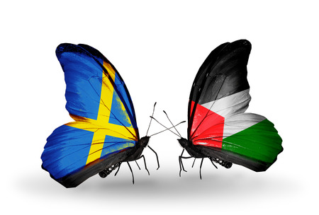 Two butterflies with flags on wings as symbol of relations Sweden and Palestine photo