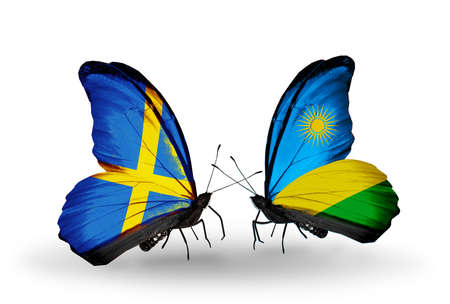 Two butterflies with flags on wings as symbol of relations Sweden and Rwanda photo