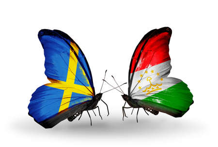 Two butterflies with flags on wings as symbol of relations Sweden and Tajikistan photo