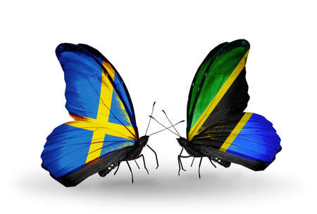 Two butterflies with flags on wings as symbol of relations Sweden and Tanzania