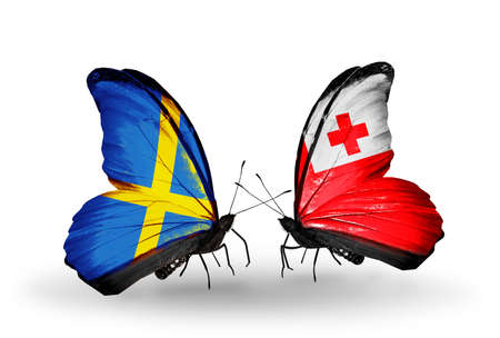 Two butterflies with flags on wings as symbol of relations Sweden and Tonga photo