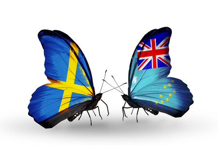 Two butterflies with flags on wings as symbol of relations Sweden and Tuvalu photo