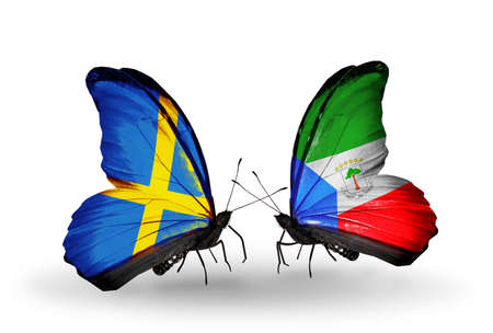 Two butterflies with flags on wings as symbol of relations Sweden and Equatorial Guinea photo