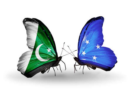 micronesia: Two butterflies with flags on wings as symbol of relations Pakistan and Micronesia