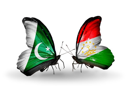 economy of tajikistan: Two butterflies with flags on wings as symbol of relations Pakistan and Tajikistan Stock Photo