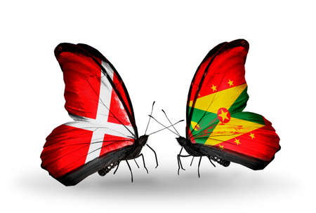 Two butterflies with flags on wings as symbol of relations Denmark and Grenada photo