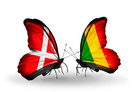 Two butterflies with flags on wings as symbol of relations Denmark and  Mali photo