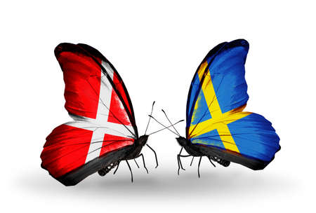 sweden flag: Two butterflies with flags on wings as symbol of relations Denmark and Sweden