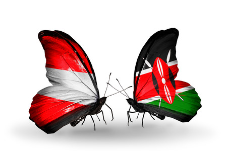 Two butterflies with flags on wings as symbol of relations Austria and Kenya photo