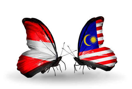 Two butterflies with flags on wings as symbol of relations Austria and Malaysia photo